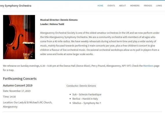 Abergavenny Symphony Orchestra Website